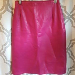 Hugo Buscati Fuchsia Leather Skirt USA 4